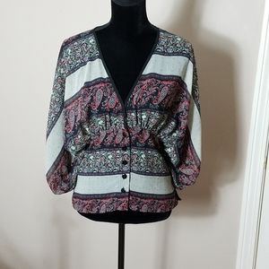 Quintessential Balloon Sleeve Print Blouse Sz L